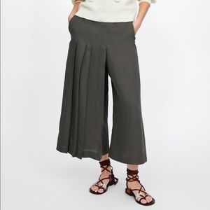 NWT Zara Brown Pleated Linen Wide Leg Pants Small